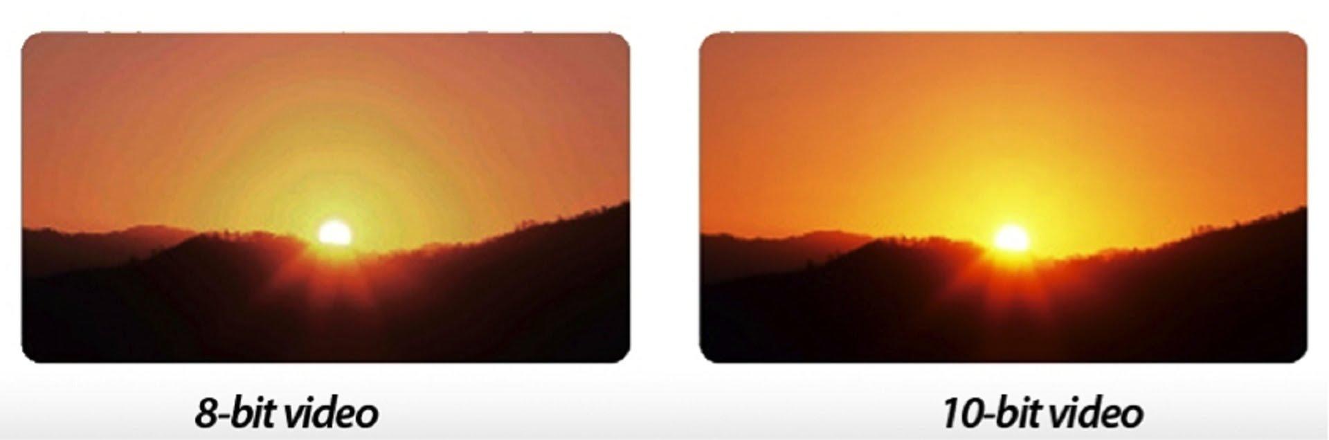 c1355e4c8 Hezky to ilustruje například tento obrázek. Vidíte že u 10 bitů je přechod  sluneční záře mnohem plynulejší a přirozenější než u 8 bitů.
