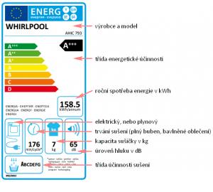 Energetický štítek sušičky prádla (Whirlpool)